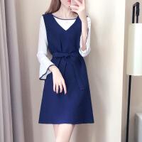 早秋2018新款连衣裙时髦套装针织上衣裙子韩版气质两件套背带裙潮