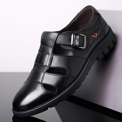 夏季新款男鞋镂空透气中老年皮鞋爸爸洞洞鞋软底休闲大码凉鞋 黑色 牛-5551黑色