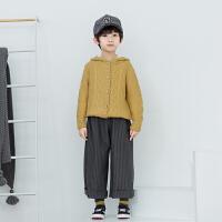 男童针织毛衣外套麻花开衫连帽外