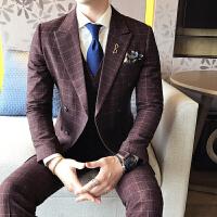 秋冬韩版常规修身三件套双开衩西装男士西服套装平驳领2017青年