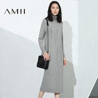 【AMII 超级品牌日】AMII[极简主义]女冬新品艺术撞色混织高领长款连衣裙11674207