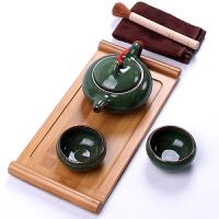 整套茶具陶瓷冰裂茶具茶壶功夫茶具竹制茶盘托盘 竹托盘6件绿冰裂茶具套装