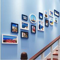 创意欧式楼梯照片墙夹子 悬挂 无痕钉相片墙装饰客厅相框挂墙组合