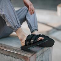 古雀网红拖鞋男夏季外穿防滑软底一字拖鞋男鞋透气休闲情侣沙滩鞋 黑色