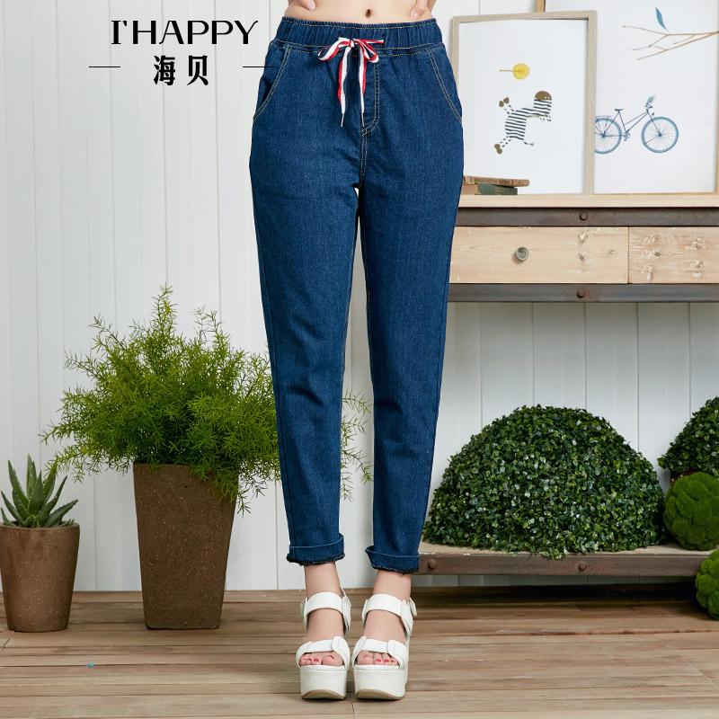海贝夏季新款女装 休闲百搭高腰松紧腰插袋修身九分牛仔裤
