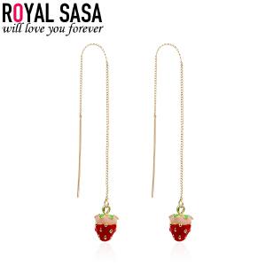 皇家莎莎甜美风草莓流苏耳线耳环女耳钉耳坠少女心耳饰送女友礼物