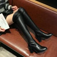 高筒靴过膝长靴弹力靴女粗跟高跟冬季2019新款骑士靴长筒靴女靴子