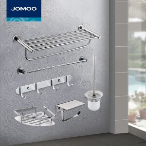 【每满100减50元】九牧(JOMOO)浴室卫生间置物架套装挂件太空铝浴巾毛巾架939405