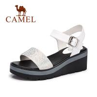 【每满200减100】camel骆驼女鞋 夏季新款 休闲简约水钻凉鞋坡跟舒适真皮鞋