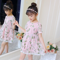 韩版女童装 2018夏季新款儿童刺绣花朵公主连衣裙 宝宝短袖裙子