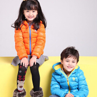 儿童冬装轻薄羽绒服男童短款白鸭绒女童保暖外套