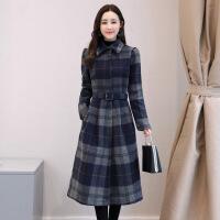 2018冬季新款韩版女装秋冬长袖格子毛呢连衣裙气质韩版中长裙子潮 藏青格 M
