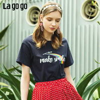 【5折价89】Lagogo/拉谷谷预售2019夏季新款时尚印花镂空短袖T恤女IATT313G08
