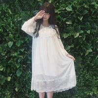 2018新款2017夏季新款女装少女日系睡裙长袖蕾丝可爱家居服睡衣长裙连衣裙 白色 均码