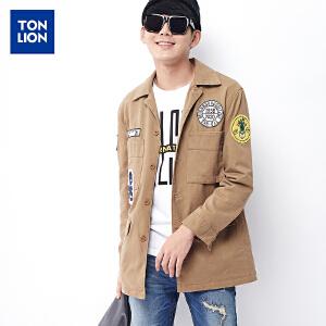 【2件3折价131.7元】唐狮春秋男士外套中长款韩版学生风衣外套贴标款潮男工装青年夹克