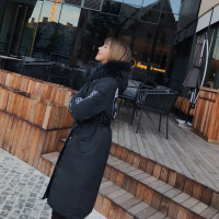 女中长款过膝2018冬装新款韩版修身印花外套棉袄chic毛领棉衣