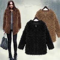 卡茗语羊圈圈绒外套保暧潮冬装仿皮草中长款加绒加厚双面羊羔绒大衣女