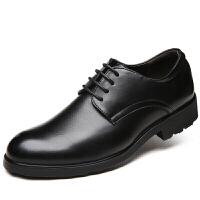 皮鞋男鞋皮鞋男真皮商务正装内增高皮鞋头层牛皮尖头英伦 金钟-610-1黑色