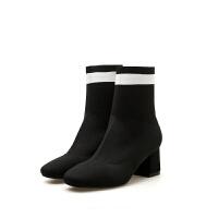 时装中跟女靴2018秋冬新款舒适中筒英伦短靴方头条纹马丁靴女