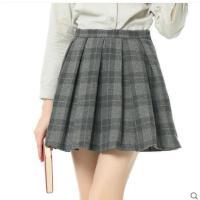 透气柔软舒适可爱伞裙甜美女羊毛短格子裙A字半身裙百褶