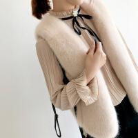 №【2019新款】冬天小姐姐穿的蝴蝶结木耳边衬衫女立领宽松喇叭袖衬衣 (加绒)