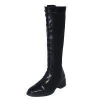 靴子女冬2019新款中筒高筒靴不过膝靴长筒网红瘦瘦靴绑带骑士靴女