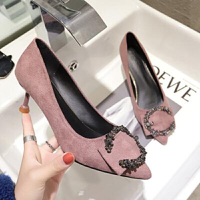 同款鞋子女2019春季新款韩版女鞋大码绒面水钻浅口尖头高跟单鞋女细跟