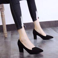 鞋子女学生高跟鞋女粗跟2019新款韩版鞋子尖头黑色职业单鞋女百搭 黑色 7cm