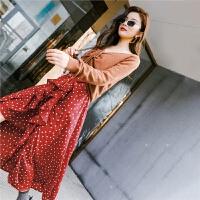 七格格红色毛衣配裙子两件套新款秋冬季打底连衣裙女雪纺长裙