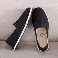 老北京布鞋男士一脚蹬懒人棉鞋黑工作休闲春季千层底帆布爸爸布鞋