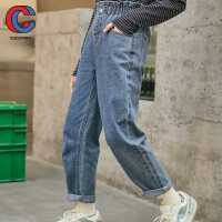 巴拉巴拉旗下棵棵树童装2021年春季新款女中大童长裤高腰款宽松舒适阔腿牛仔裤