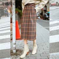 七格格小清新半身裙秋装女新款韩版chic学院风中长款格子裙子