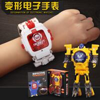 卡通个性电子表男孩益智3-6周岁儿童手表4玩具变形金刚5机器人9