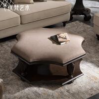优梵艺术 Taeuber美式布艺双层茶几简约茶桌子小户型创意家具客厅