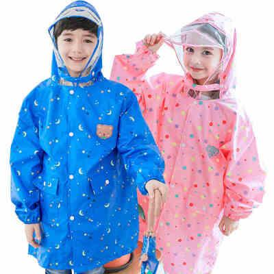 kocotree新款儿童雨衣男女童卡通时尚幼儿园防水小孩雨衣小学生雨披潮带书包位  防水