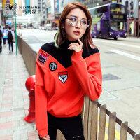 玛玛绨2017冬装新款韩版个性拼接刺绣加绒卫衣女套头宽松高领上衣