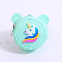 便携迷你零钱包硬币包创意兔头圆形硅胶零钱包 卡通动物图案钱币钱包 钥匙扣