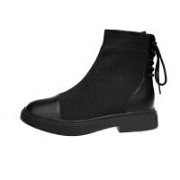 短靴女秋袜子靴2019新款英伦风短筒厚底粗跟单靴瘦瘦靴马丁靴子潮 黑色