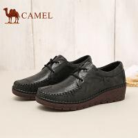 骆驼女鞋 新品头层牛皮坡跟系带单鞋缓震气垫休闲女鞋