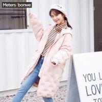 美特斯邦威羽绒服女宽松韩版2017冬装新款潮流廓型连帽长款外套S