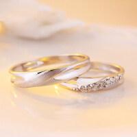 情侣戒指女S925纯银饰品开口对戒子男一对活口创意韩版刻字