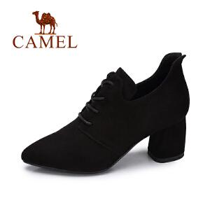 camel/骆驼女鞋 2017秋季新款 简约百搭高跟鞋女舒适优雅粗跟尖头单鞋