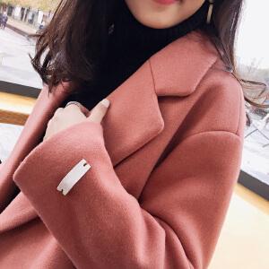 20171128164859403ulzzang毛呢大衣女秋冬装2017中长款韩国矮个子原宿加厚毛呢外套