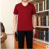 男短袖长裤休闲简约运动服套装加大码爸爸装薄棉 中老年运动套装