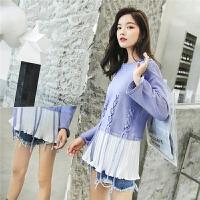 七格格毛衣女套头新款假两件长袖圆领韩版学生中长款针织衫冬
