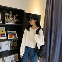 秋季女装上衣服长袖女学生韩版宽松百搭纯色圆领短款卫衣 均码