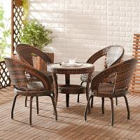 家逸 创意可旋转藤椅茶几三件套五件套 阳台户外桌椅组合庭院茶几凉椅座椅藤编