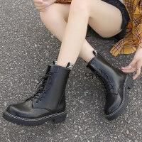 靴子女2019秋款韩版女靴子粗跟低跟马丁靴女英伦风圆头系短靴女 黑色