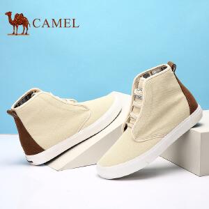 骆驼牌 男鞋 新款高帮帆布鞋男士休闲时尚鞋子百搭布鞋男