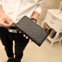 男士手包新款韩版编织钱包 长款手包 手工编制手拿包 男女士钱夹时尚钱包